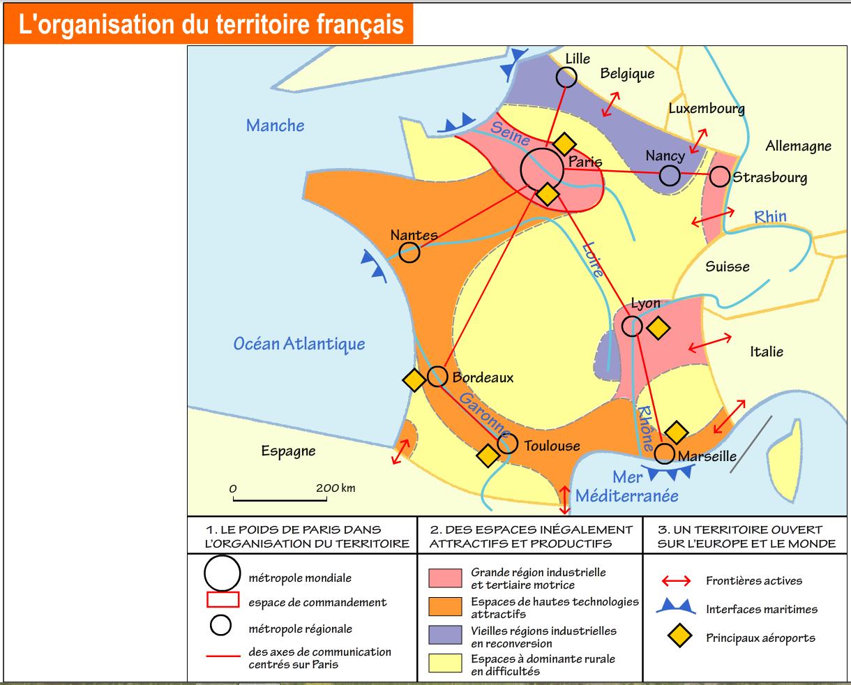 Carte - organisation du territoire français