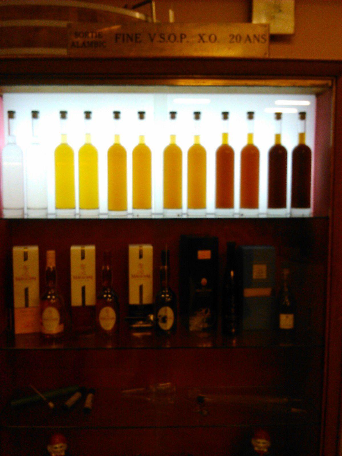évolution de la couleur d'un Calvados dans un fût de chêne