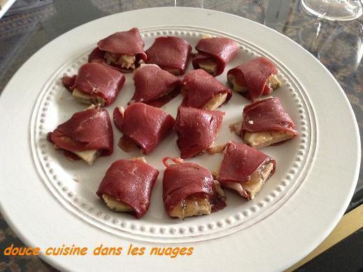 Magret de canard séché, foie gras et chutney normand au Père Magloire