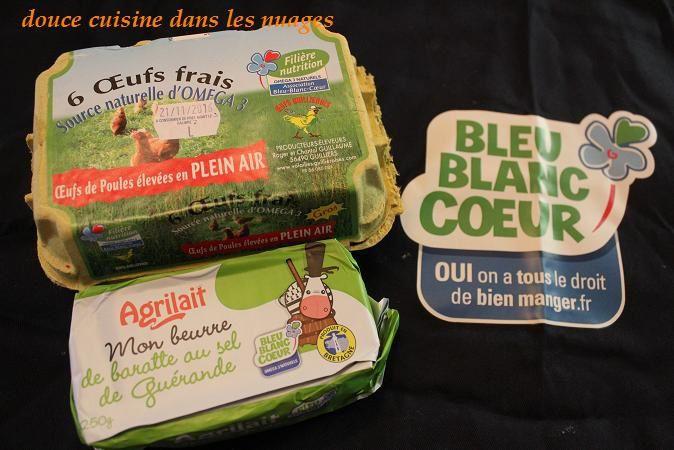 exemple de produits avec le logo Bleu Blanc Coeur