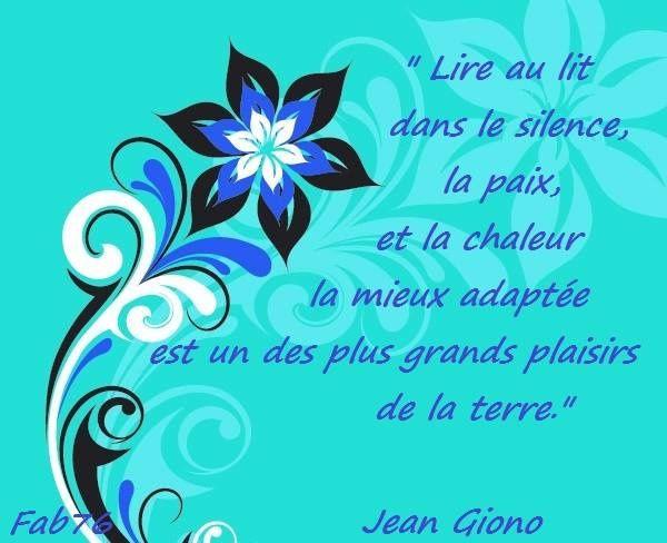 Citation de Jean Giono sur la lecture au lit