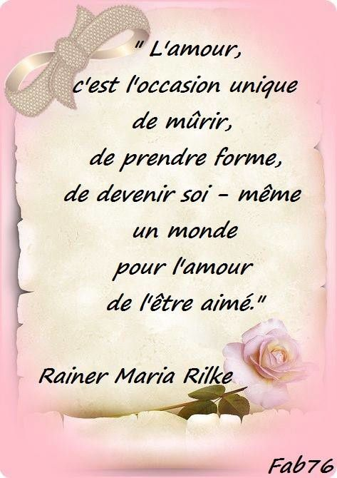 Citation de Rainer Maria Rilke sur l'amour