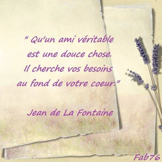 Citation de Jean de La Fontaine : douceur de l'amitié
