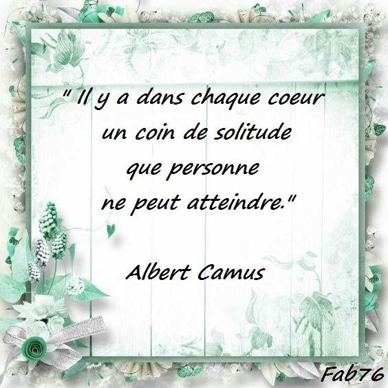 Citation d'Albert Camus sur le &quot&#x3B;coin de solitude&quot&#x3B;