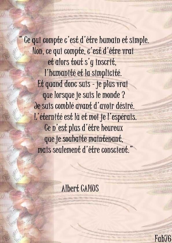 Citation d'Albert Camus sur l'état d'&quot&#x3B;être conscient&quot&#x3B;