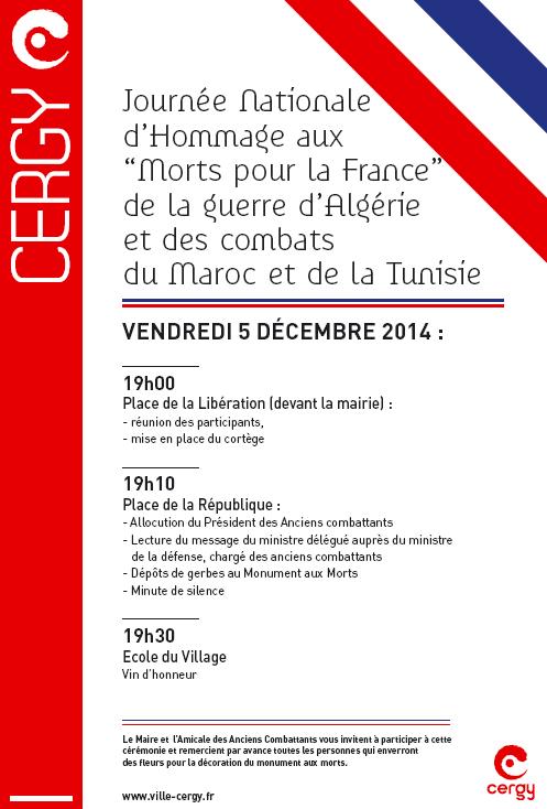 Cergy : hommage aux morts de la guerre d'algérie et combats Maroc, Tunisie