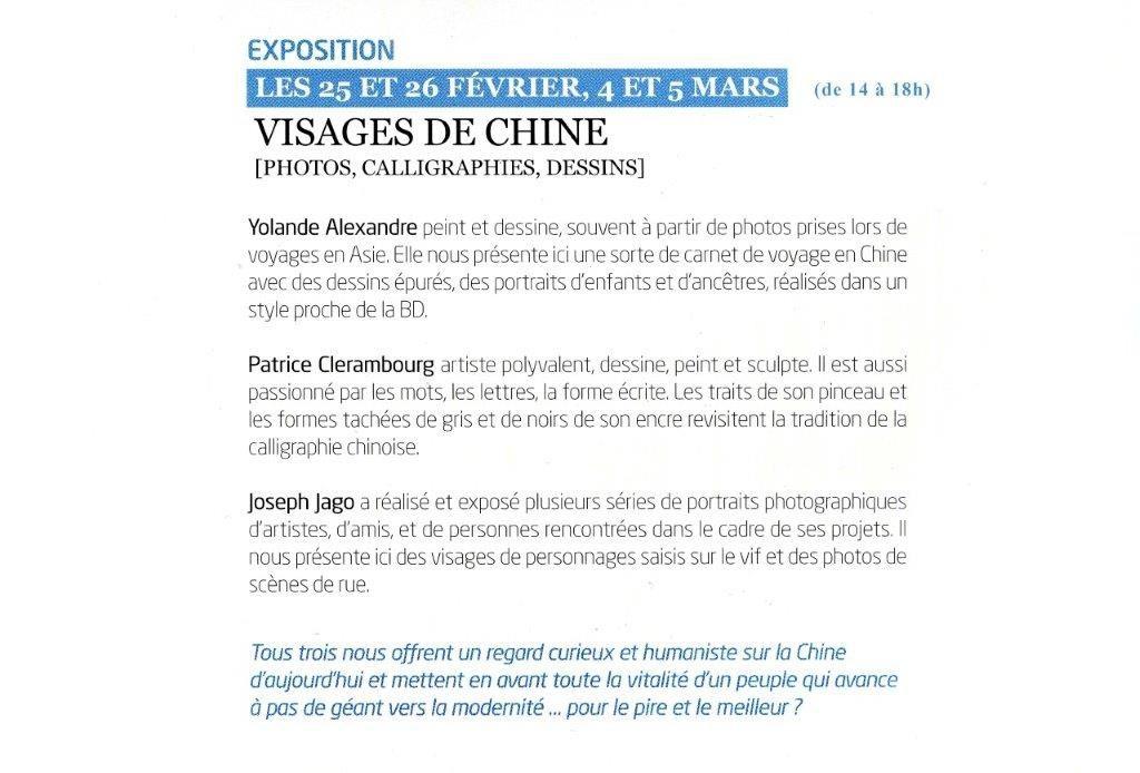 Exposition visage de Chine à Eragny