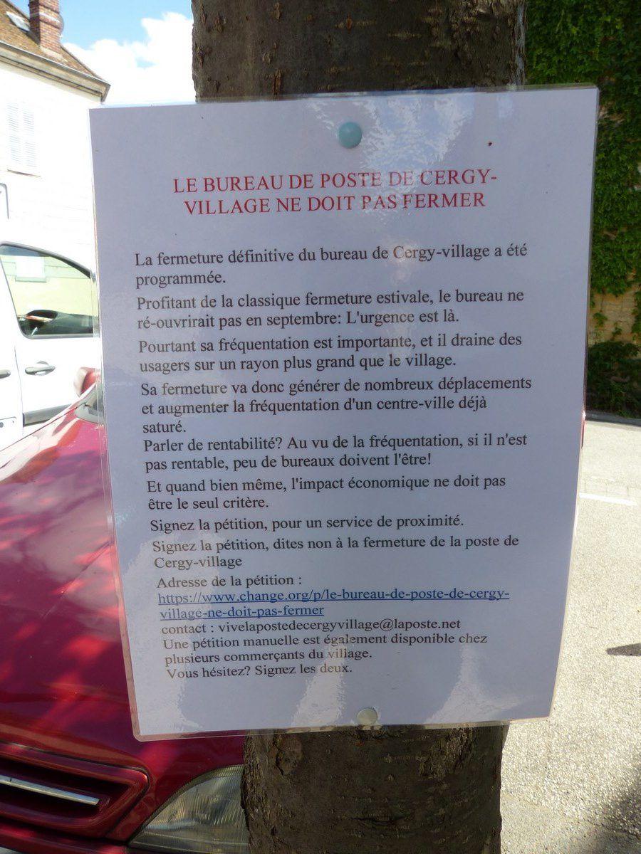 Pétition contre la Fermeture de la poste de Cergy Village
