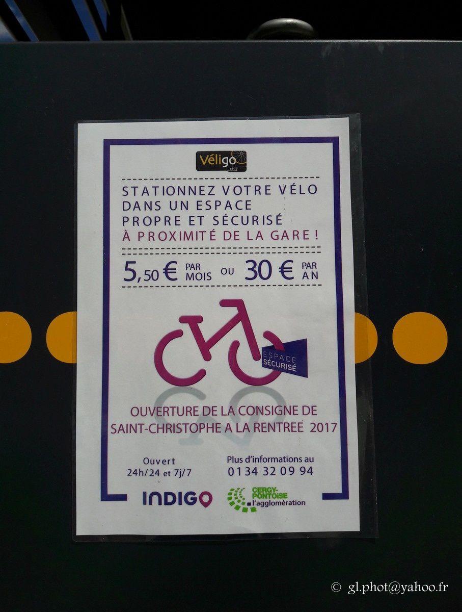 Parking consigne sécurisé pour vélos à la gare de Cergy Saint-Christophe