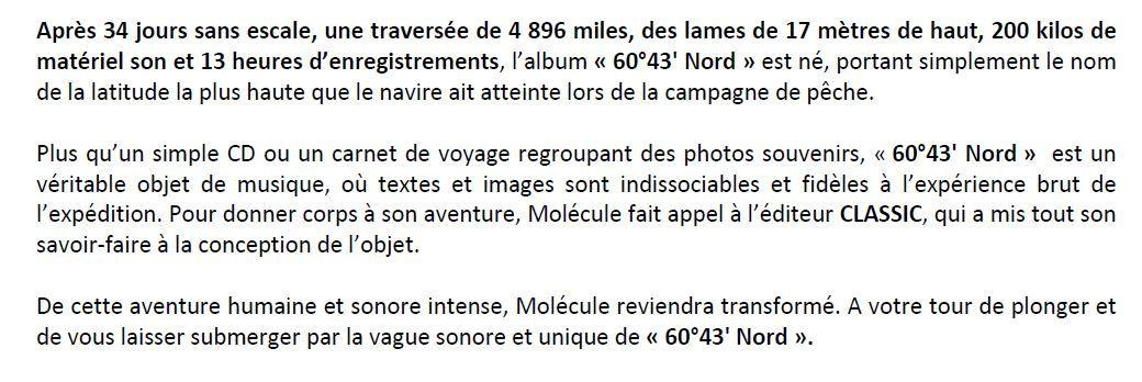 MOLECULE - 60°43' Nord / MUSIQUE ELECTRO / ACTUALITES