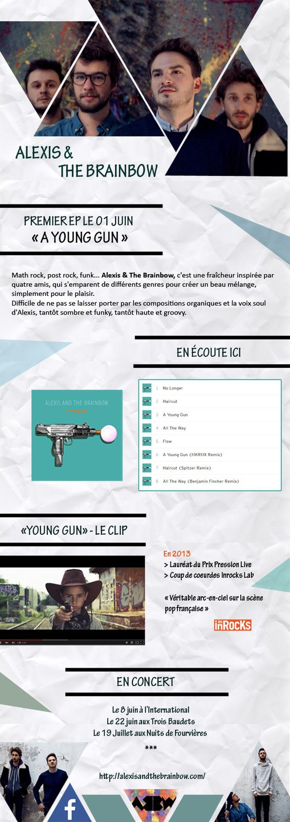 Alexis and The Brainbow &gt&#x3B; Premier EP &quot&#x3B;A Young Gun&quot&#x3B; le 1er juin! / CHANSON MUSIQUE / ACTUALITE