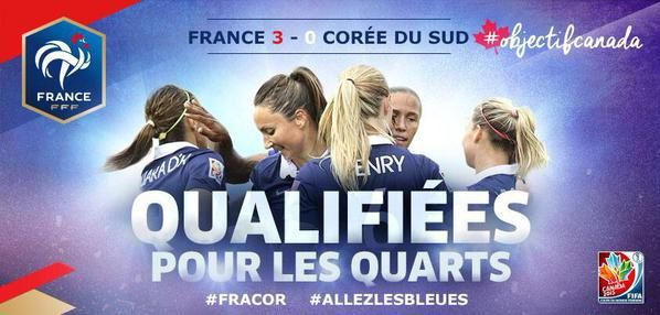 FRANCE / COREE = 3-0 / les bleues en quart de finale / FOOTBALL FEMININ