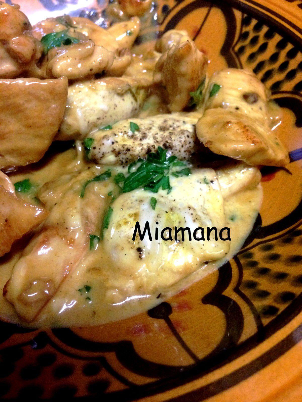 Emincé de poulet au curry et au fromage