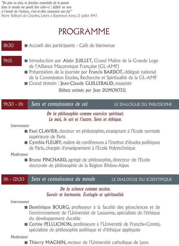 "GL-AMF : ""Le sens de la vie"". Grand Colloque le 22 novembre 2014 à La Défense."