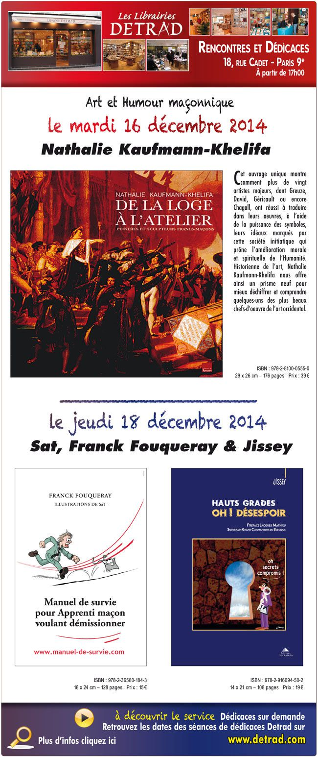 Detrad : Dédicaces Art &amp&#x3B; Humour maçonnique les 16 et 18 décembre 2014 à Paris