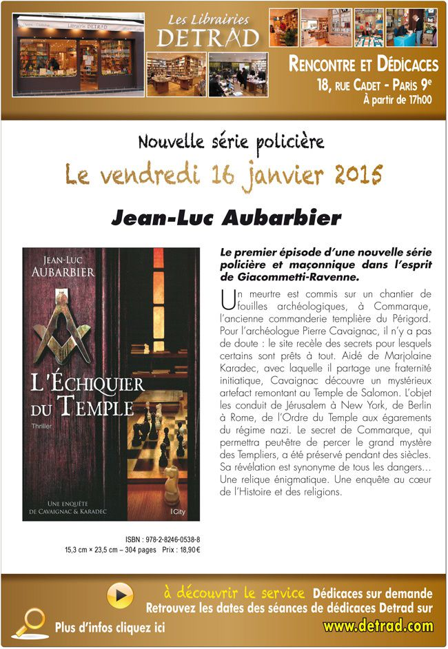 Jean-Luc Aubarbier sera la veille en dédicace chez Detrad à Paris.