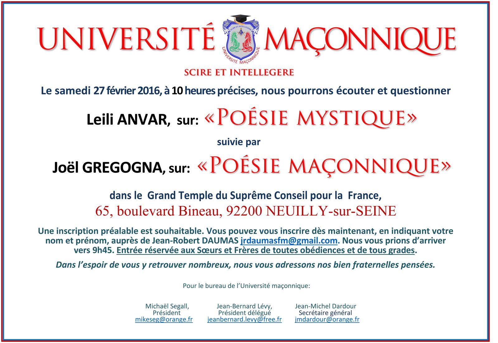 Poésie mystique et maçonnique avec Leili Anvar &amp&#x3B; Joël Grégogna à l'Université Maçonnique le 27 février 2016.