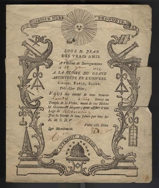 Invitation à une tenue en 1784 (archives de la GLDF)