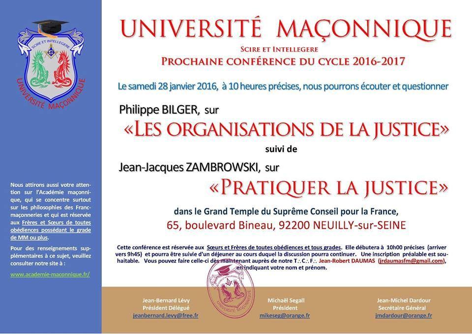 La Justice en question à l'Université Maçonnique le 28 janvier 2017 avec Philippe Bilger et Jean-Jacques Zambrowski.