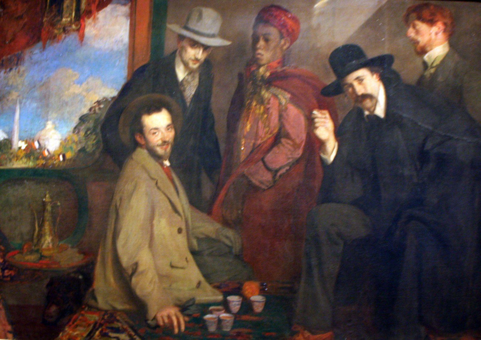 """""""André Gide er ses amis au Café"""", 1901 de Jacques Émile BLANCHE"""