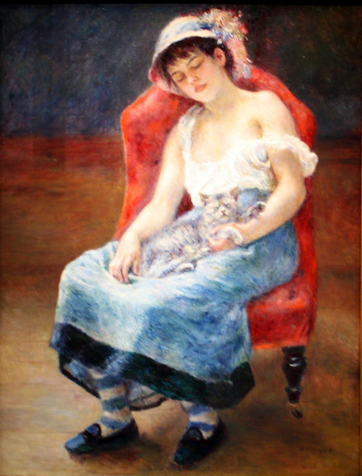 """""""Jeune fille au chat"""", 1880 de Pierre-Auguste Renoir"""