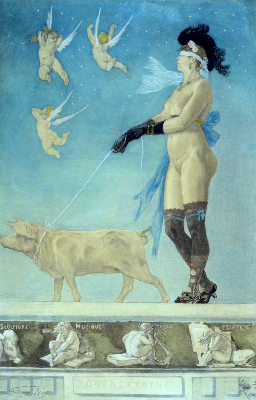 """""""Pornokrates"""", 1878 de Félicien Rops"""