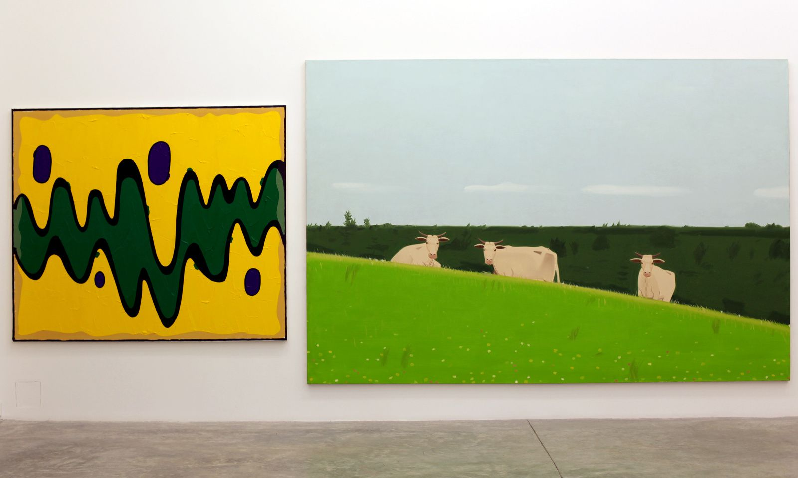"""Walt Disney Production1947-2014 #20"", 2014 de Bertrand Lavier et ""Three cows"", 1981 de Alex Katz Courtesy Almine Rech Gallery © Photo Éric Simon"