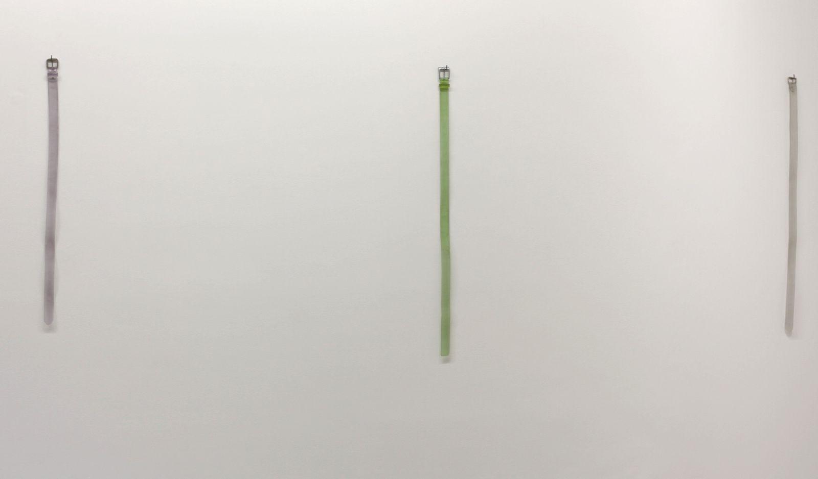 """Belt hanging on the wall"", 2014 de Valentin Carron Courtesy Galerie  Kamel Mennour © Photo Éric Simon"