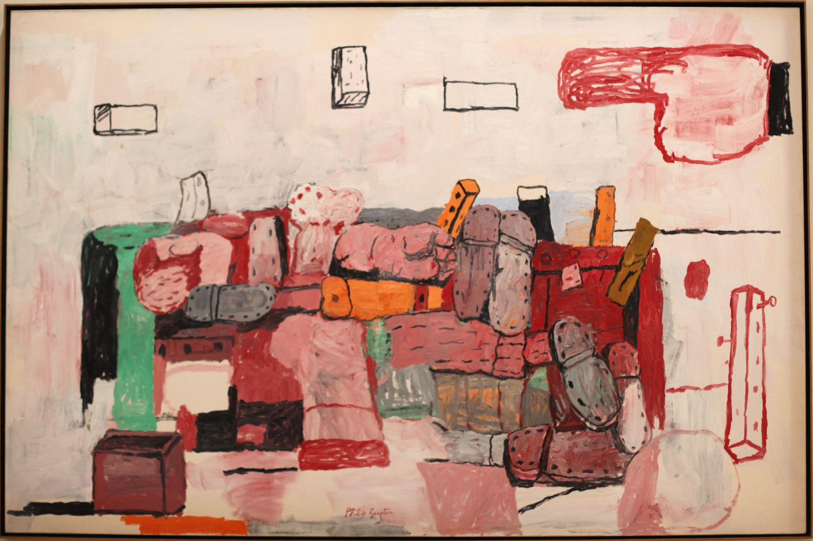 """Evidence"", 1970 de Philip Guston. Collection at the San Francisco Museum of Modern Art © Photo Éric Simon"