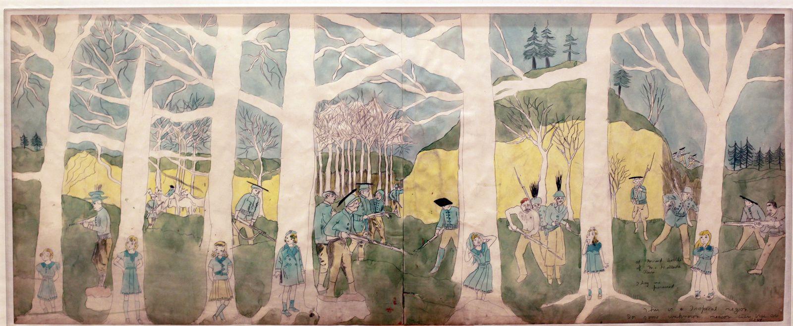 """""""A la secode bataille de Mc Hollester Run, elles sont poursuivies. C'est une zone tropicale. Pour une raison inconnue les arbres sont morts"""", entre 1930 et 1940 d'Henry Darger © Photo Éric Simon"""