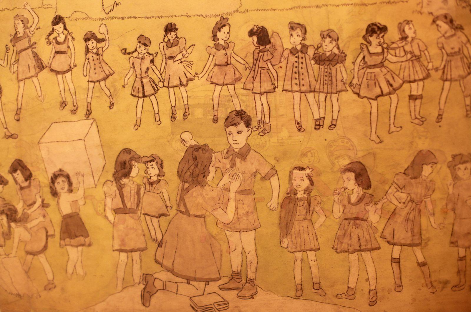 """Détail """"24 fillettes et un scout"""", entre 1930 et 1940 d'Henry Darger © Photo Éric Simon"""