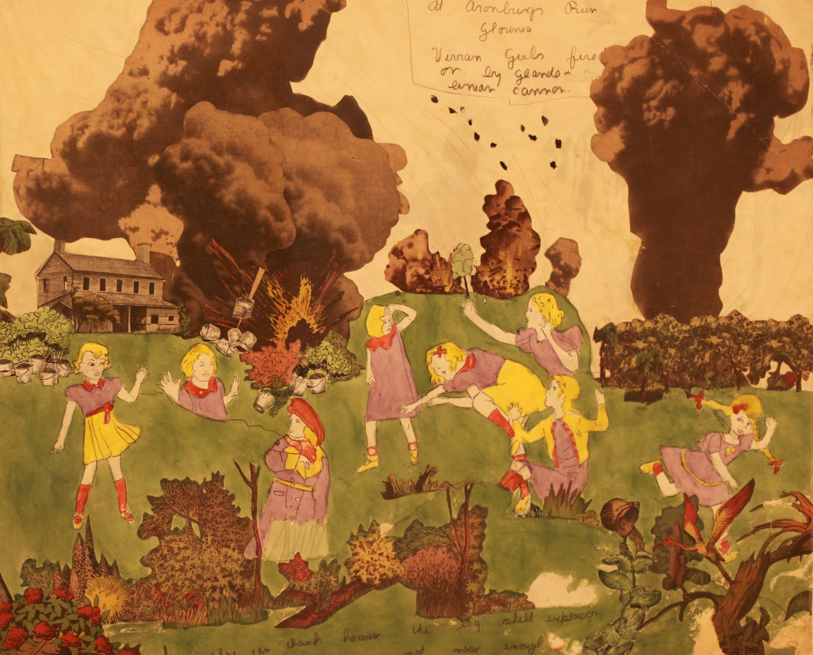 """""""""""A Aronburg Run Glorina. Les Vivian Girls sont visées par les canons Glandeliniens. Elles peuvent rendre grâce au ciel de ce que l'énorme explosion d'obus n'ait pas été assez proche pour les atteindre"""", entre 1930 et 1940 d'Henry Darger © Photo Éric Simon"""