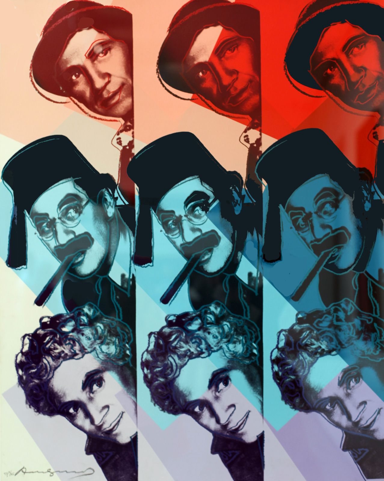 """Ten Portrait of Jews of the Twentieth Century (The Marx Brothers)"", 1980 d'Andy Warhol © Photo Éric Simon"