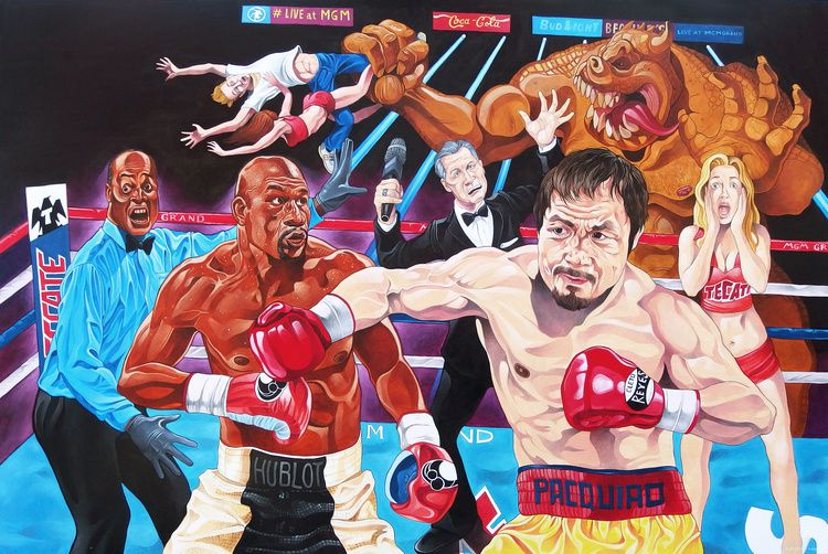 """""""Pacquiao contre Mayweather real and end"""" de Kosta Kulundzic , Courtesy Galerie Da-End"""