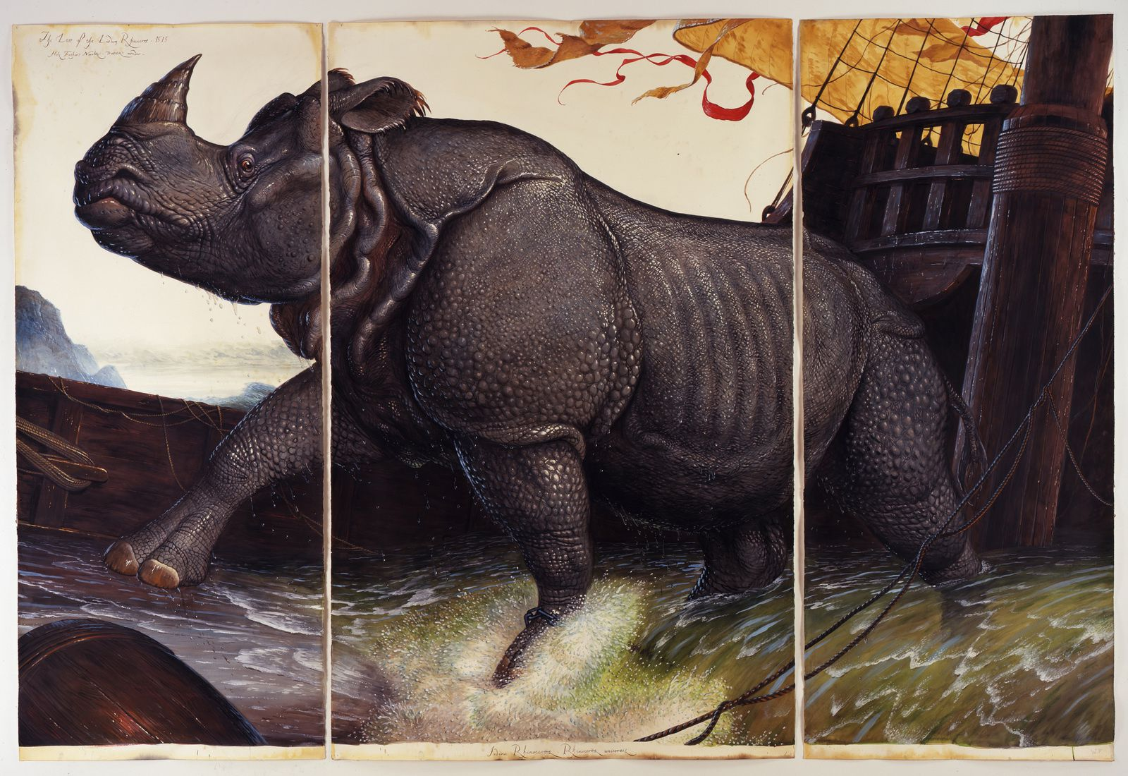 """Loss of the lisbonn Rhinoceros"", 2008 de Walton Ford © Photo Éric Simon"
