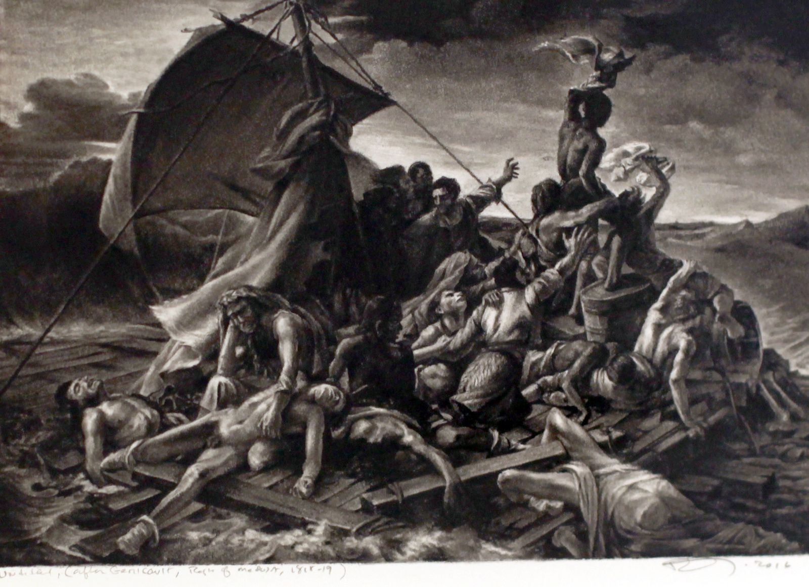 """Untitled (After Géricault, the raft of the medusa 1818-1819)"", 2016 de Robert Longo - Courtesy Galerie Ropac © Photo Éric Simon"