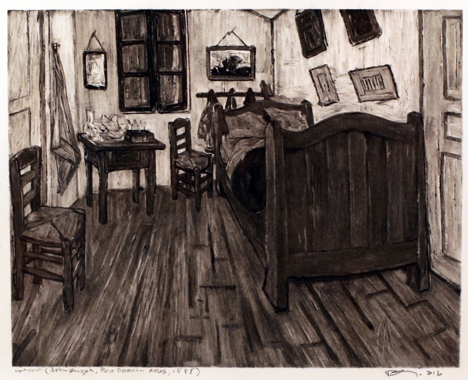 """Untitled (After Van Gogh, bedroom in Arles 1888)"", 2016 de Robert Longo - Courtesy Galerie Ropac © Photo Éric Simon"