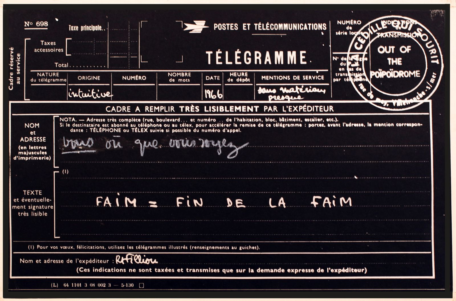 """Faim =Fin de la Faim"", 1966 de Robert FILLIOU - Courtesy Galerie Gagosian © Photo Éric Simon"