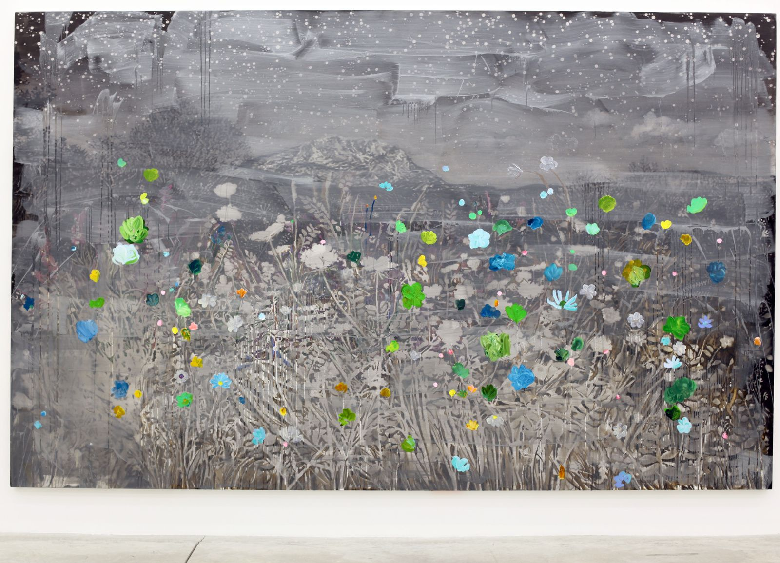 """""""Landscape and Sainte Victoire by night and cold flowers"""", 2016 d'Ida Tursic et Wilfried Mille - Courtesy Galerie Almine RECH © Photo Éric Simon"""