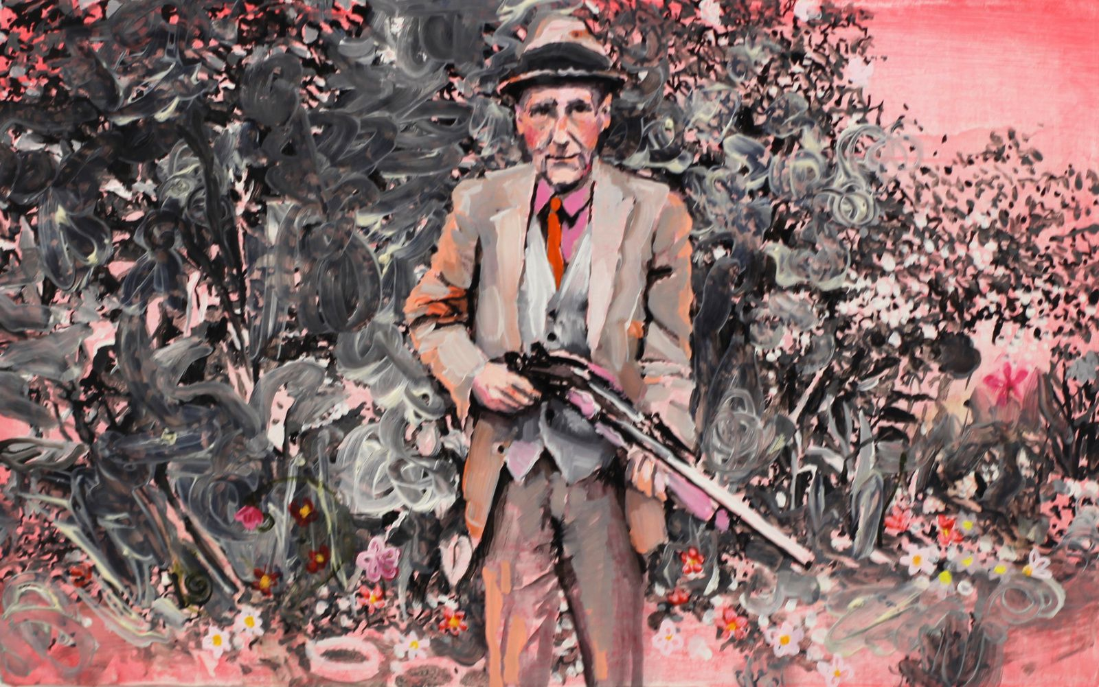 """Wiliam S. Burroughs in pink with his favorite gun"", 2016 d'Ida Tursic et Wilfried Mille - Courtesy Galerie Almine RECH © Photo Éric Simon"