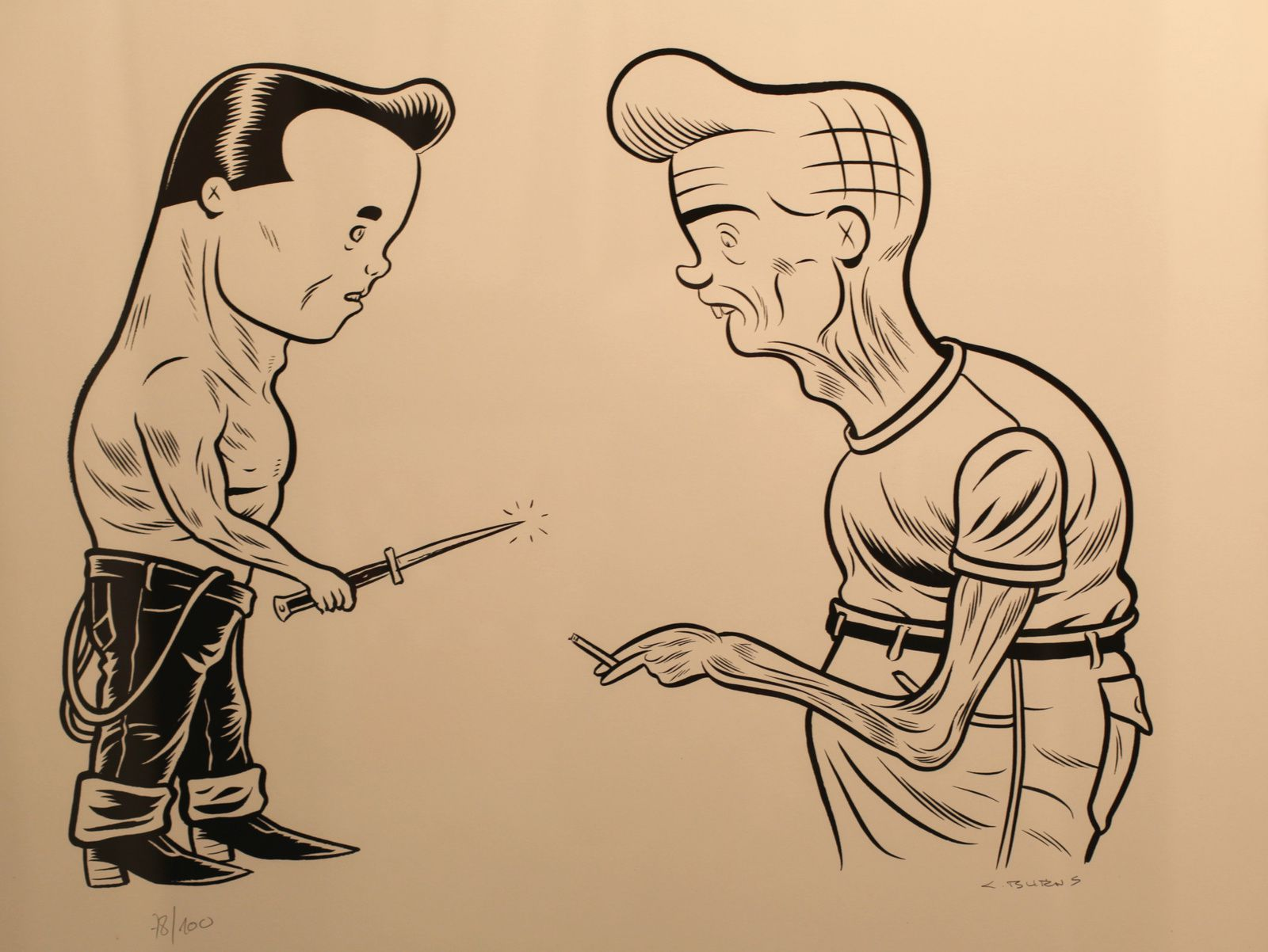 """Face to face"", 2008 de Charles BURNS - Courtesy Galerie Arts Factory © Photo Éric Simon"