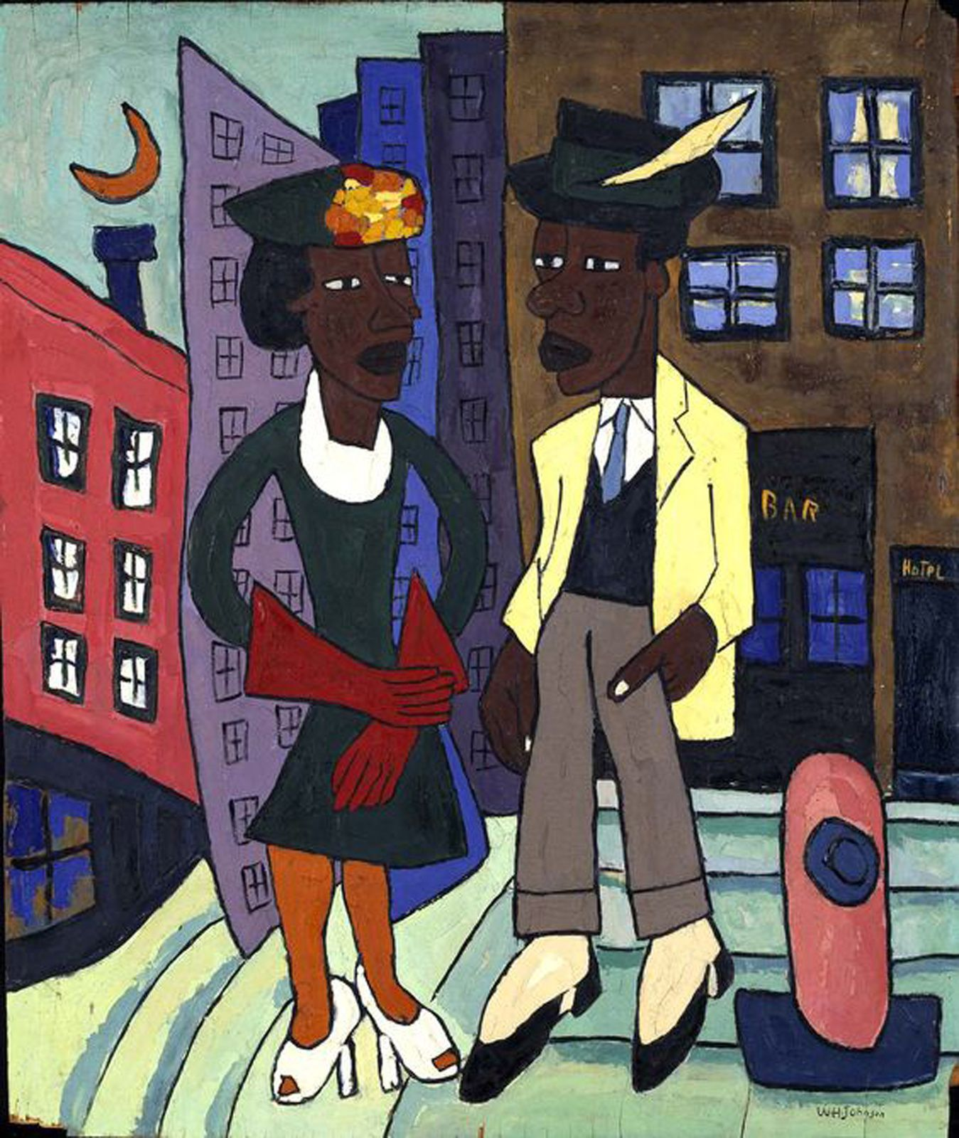 """Street life, Harlem"", 1939 de William H. JOHNSON - Courtesy Smithsonian American Art Museum"