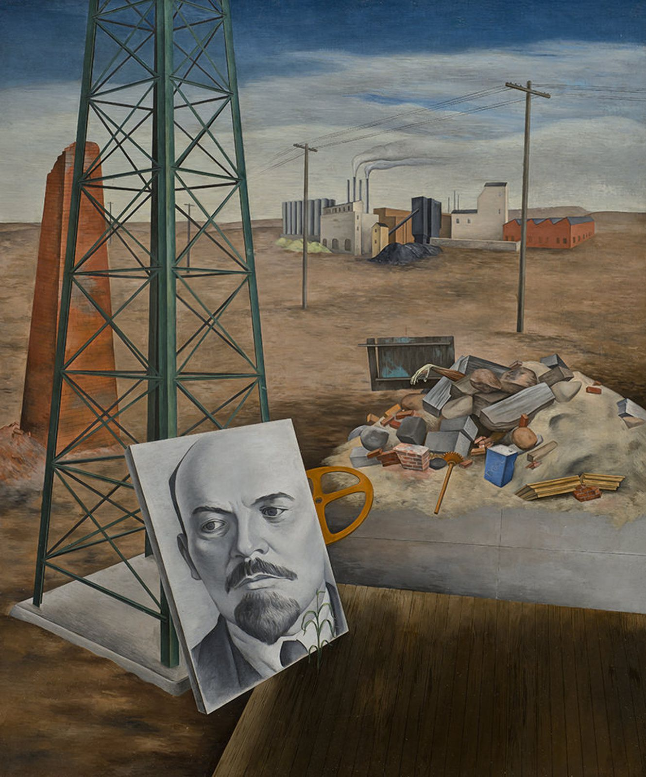 """Phoenix (Portrait in the Desert&#x3B; Lenin"", 1935 de O. Louis GUGLIELMI - Courtesy Sheldon Museum of Art"