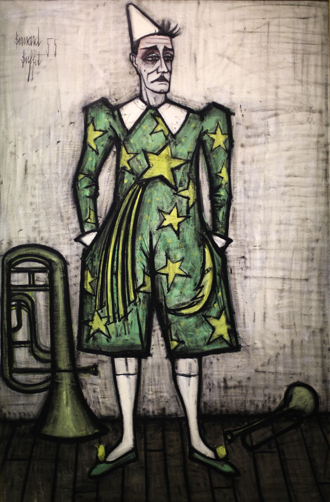"""Le Cirque, clown au Trombone"", 1955 de Bernard BUFFET - Courtesy Musée B. Buffet © Photo Éric Simon"