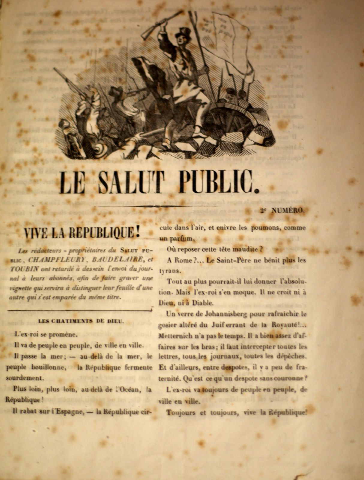 """""""Le Salut Public, N°2"""", 1848 de Charles BAUDELAIRE, Gustave COURBET, CHAMPFLEURY, Charles TOUBIN © Photo Éric Simon"""