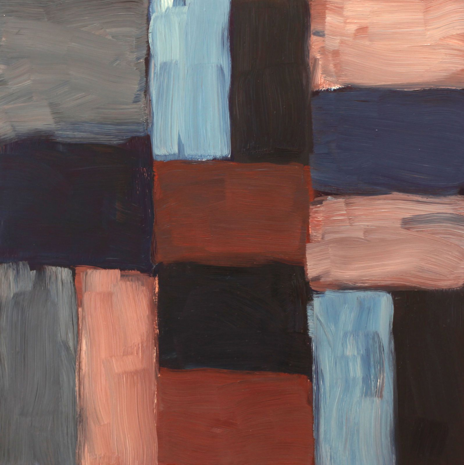 """Wall Grey Blue"", 2016 de Sean SCULLY - Courtesy Galerie Lelong © Photo Éric Simon"