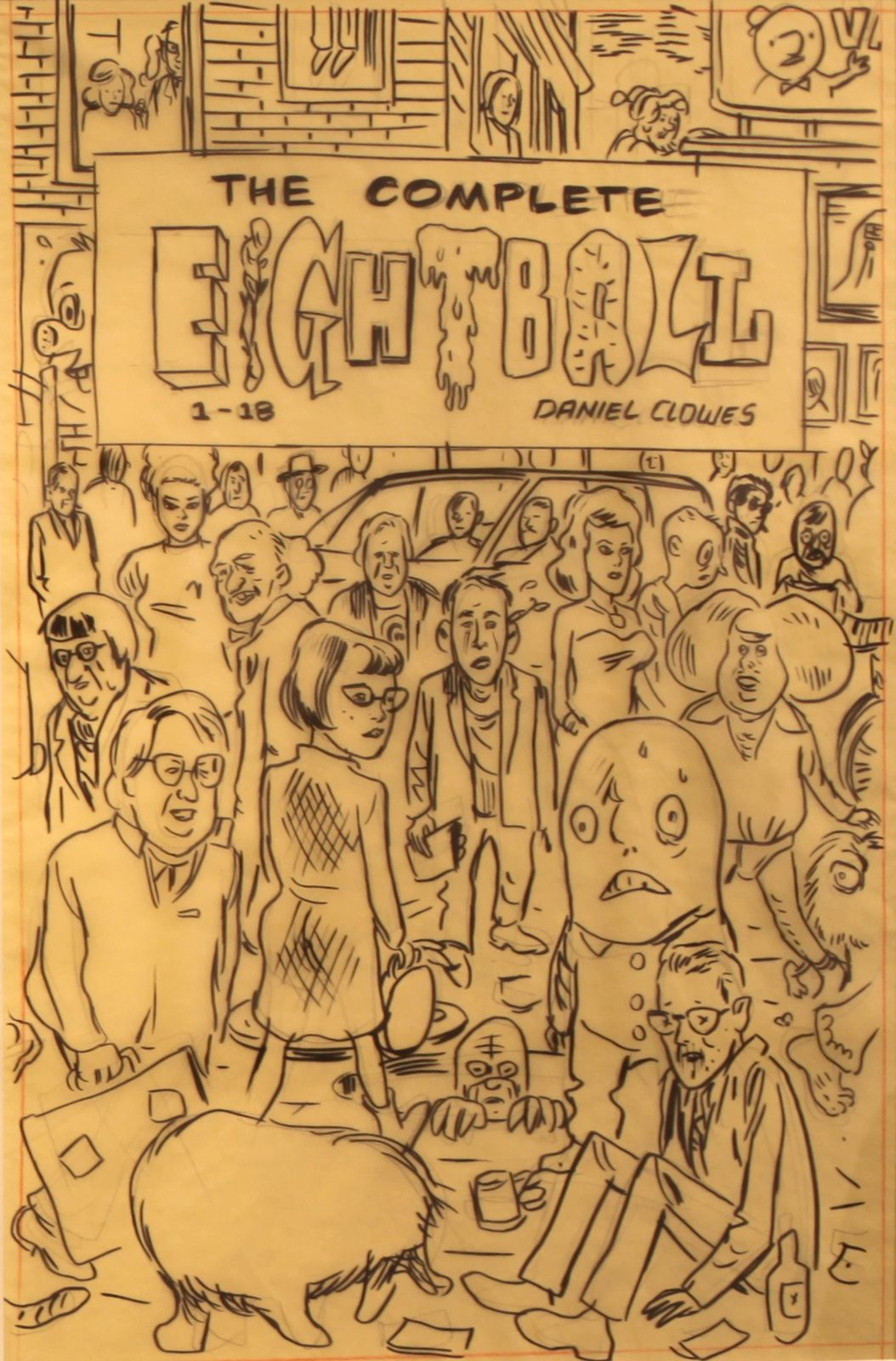 """The Complete Eightball - Final Sketch for Box cover art"", 2014 de Daniel CLOWES - Courtesy Galerie Martel © Photo Éric Simon"