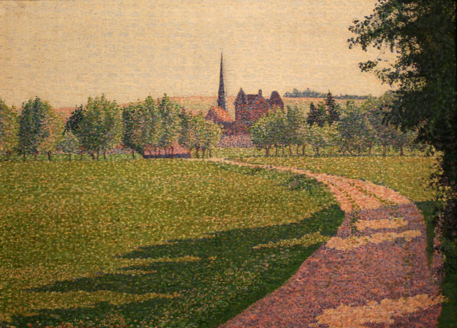 """L'Église d'Éragny"", 1886 de Lucien PISSARRO - Courtesy Ashmolean Museum, University of Oxford © Photo Éric Simon"