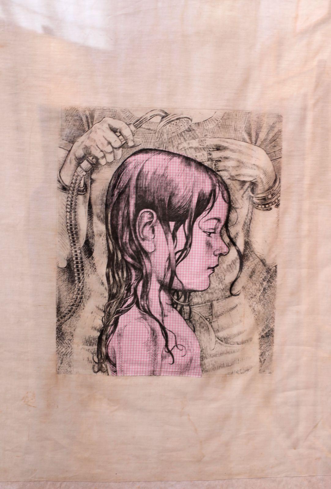 """""""Tirage sur mouchoir"""", 2000 de Agathe MAY - Courtesy Galerie Galerie Catherine Putman  © Photo Éric Simon"""