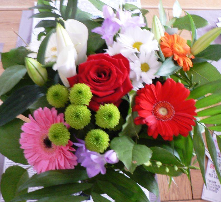 un joli bouquet offert par une voisine- Robin lui a passé le motoculteur sans son carré de jardin-